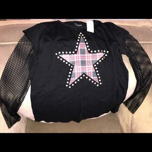 Mesh Long Sleeve shirt with Star with tags